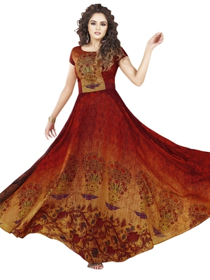 Maroon printed art silk party wear gown
