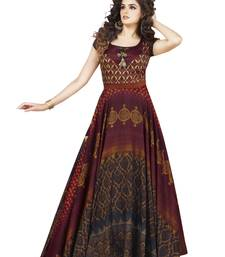 Buy Maroon printed satin party wear gown party-wear-gown online