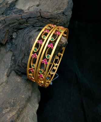 Gold Plated Multi Colour Stones Bangles