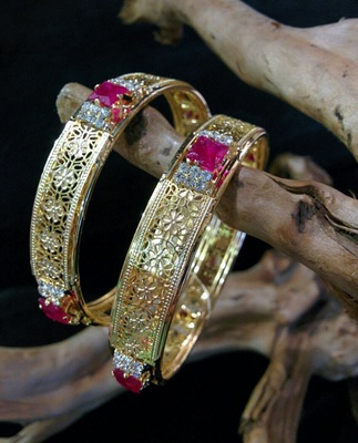 Gold Plated Ruby And White Stones
