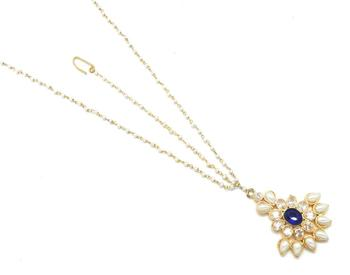 Leaf Style Maang Tikka Matha Patti Decorated With American Diamod And Pearl