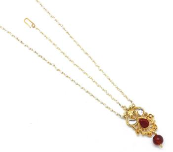 Golden Textured Maang Tikka And Matha Patti Decorated With Kundan And Crystal