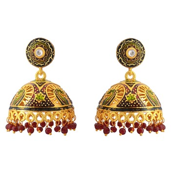 Traditional Meenakari Gold Plated Tokri Jhumka Earrings For Women