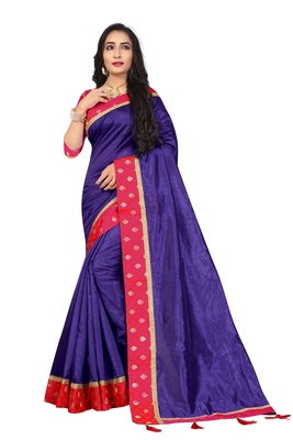 Purple embroidered brocade silk saree with blouse