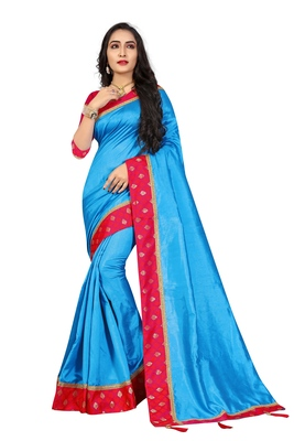 Blue embroidered brocade silk saree with blouse