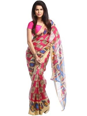 Chhabra 555 Pink Printed Bhagalpuri Cotton Saree With Blouse
