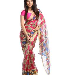 Buy Chhabra 555 Pink Printed Bhagalpuri Cotton Saree With Blouse bhagalpuri-silk-saree online