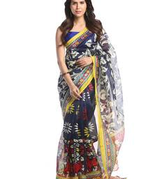 Buy Chhabra 555 Black Printed Bhagalpuri Cotton Saree With Blouse bhagalpuri-silk-saree online