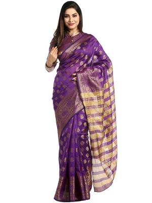 Chhabra 555 Purple Woven Art Silk Saree With Blouse