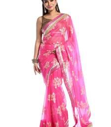 Chhabra 555 Pink Printed Georgette Saree With Blouse
