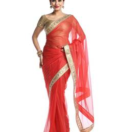Chhabra 555 Red Plain Georgette Saree With Blouse