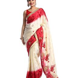 Chhabra 555 Dark Off White Embroidered Crepe Saree With Blouse