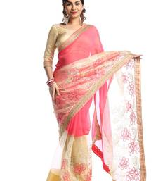 Chhabra 555 Pink Embroidered Net Saree With Blouse