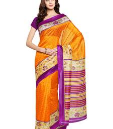 Buy Chhabra 555 Mustard Printed Art Silk Sarees With Blouse all-seasons-saree online