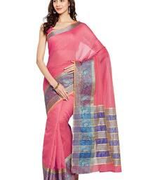 Buy Chhabra 555 Pink Woven Bhagalpuri Cotton Saree With Blouse all-seasons-saree online