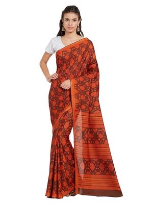 Jashn brown botanical motif artsilk saree with blouse