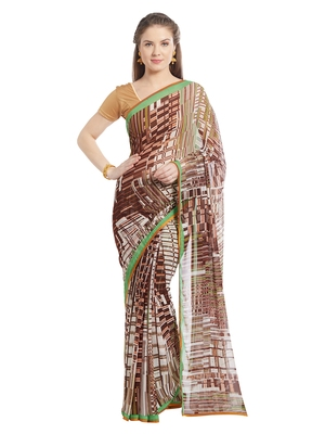 Jashn offwhite stripe print georgette saree with blouse