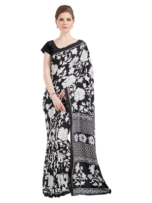 ae0ab3ae40 Jashn black n white floral print crepe saree with blouse - Jashn - 2616311
