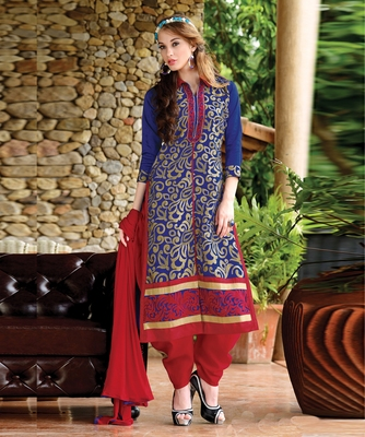 Inddus Blue Cotton Embroidered Unstitched Dress Material With Chiffon Dupatta