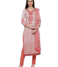 Buy Inddus Pink  Cotton Embroidered Unstitched Dress Material With Chiffon Dupatta dress-material online
