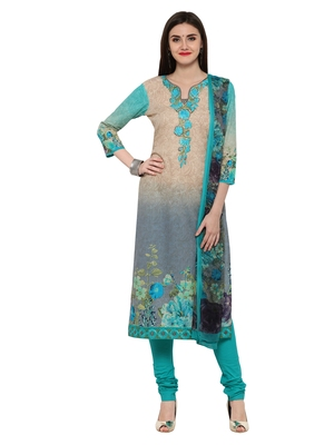 Inddus Green Cotton Embroidered Unstitched Dress Material With Chiffon Dupatta