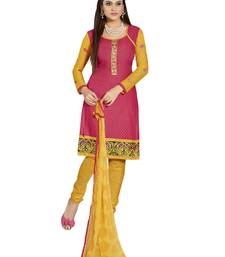 Buy Inddus Pink Cotton Printed Unstitched Dress Material With Chiffon Dupatta women-ethnic-wear online