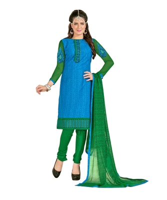 Inddus Green Cotton Printed Unstitched Dress Material With Chiffon Dupatta