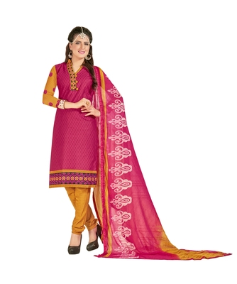 Inddus Pink Cotton Printed Unstitched Dress Material With Chiffon Dupatta