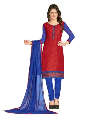 Inddus Red Cotton Printed Unstitched Dress Material With Chiffon Dupatta