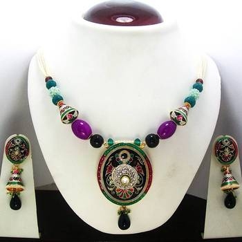 Meenakari Oval Pendant Necklace Black Pink Green