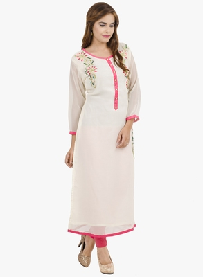 White embroidered georgette long kurtis