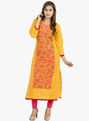 Yellow printed cotton long kurtis