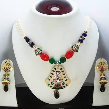 Meenakari Bell Pendant Necklace Light Pearl