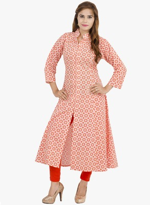 Cream printed cotton long kurtis