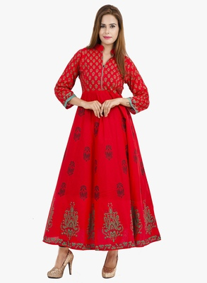 Red printed cotton long kurtis
