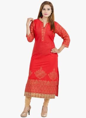 Red printed cotton long kurtis