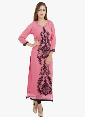 Pink embroidered georgette long kurtis