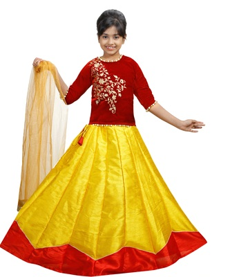 Yellow And Red Dupian Silk Hand Embroidery Kids Stitched Lehenga With Dupatta