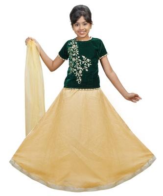 Gold Dupian Silk Hand Embroidery Kids Stitched Lehenga With Dupatta