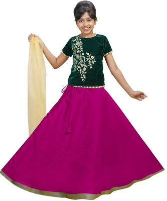 Rani Dupian Silk Hand Embroidery Kids Stitched Lehenga With Dupatta