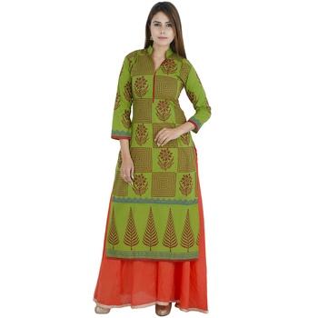 Green printed cotton long kurtis