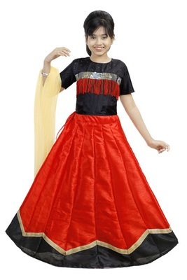 Red And Black Dupian Silk Hand Embroidery Kids Stitched Lehenga With Dupatta