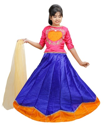 Blue and orange dupian silk hand embroidery kids stitched lehenga with dupatta