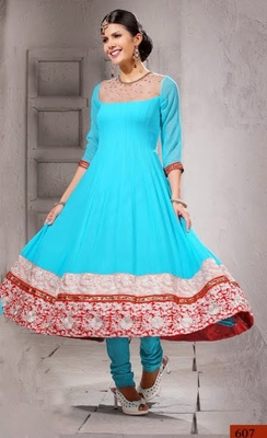 Blue embroidered georgette semi-stitched Anarkali Suit