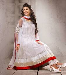 Buy White embroidered net semi-stitched salwar with dupatta party-wear-salwar-kameez online