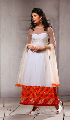 White - Orange embroidered net semi-stitched Anarkali Suit