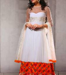 White - Orange embroidered net semi-stitched Anarkali Suit