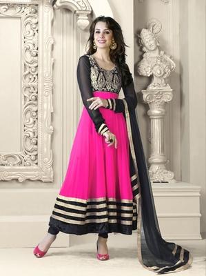 Pink - Black embroidered georgette semi stitched Anarkali Suit
