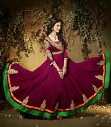 Maroon embroidered georgette semi-stitched salwar with dupatta