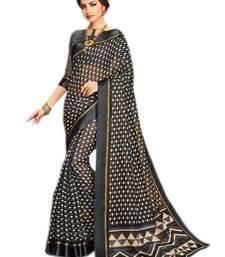 Black printed kota silk saree with blouse